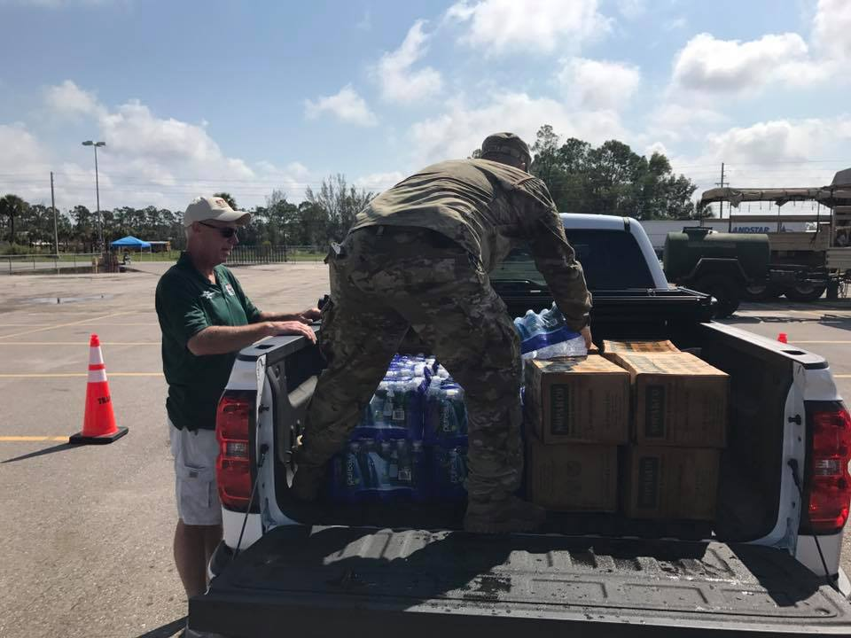 Even without power our State Commander Ken Corr is out helping other veterans get food and water