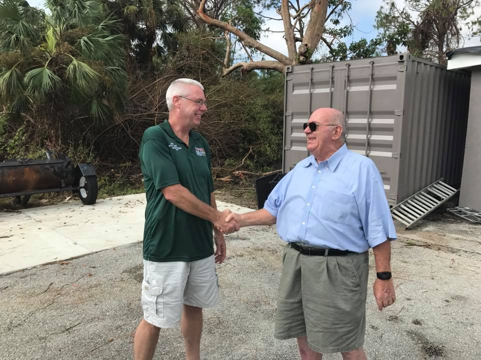State Commander Ken Corr being thanked for his hard work even when his own home is without power after Hurricane Irma